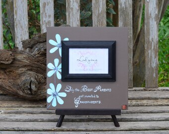 """Only the best parents get promoted to grandparents.""""Picture frame 12""""x12"""". Customize your own frame by Ladybug Design by Eu"""