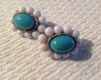 Vintage Clip On Earrings Milk Glass Turquoise Nice