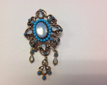 Vintage Florenza Brooch Faux Turquoise, Opals & Seed Beads  Very Lovely
