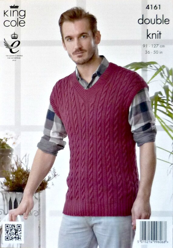 Knitting Pattern V Neck Sleeveless Jumper : Mens Knitting Pattern K4161 Mens Sleeveless V-Neck Cable