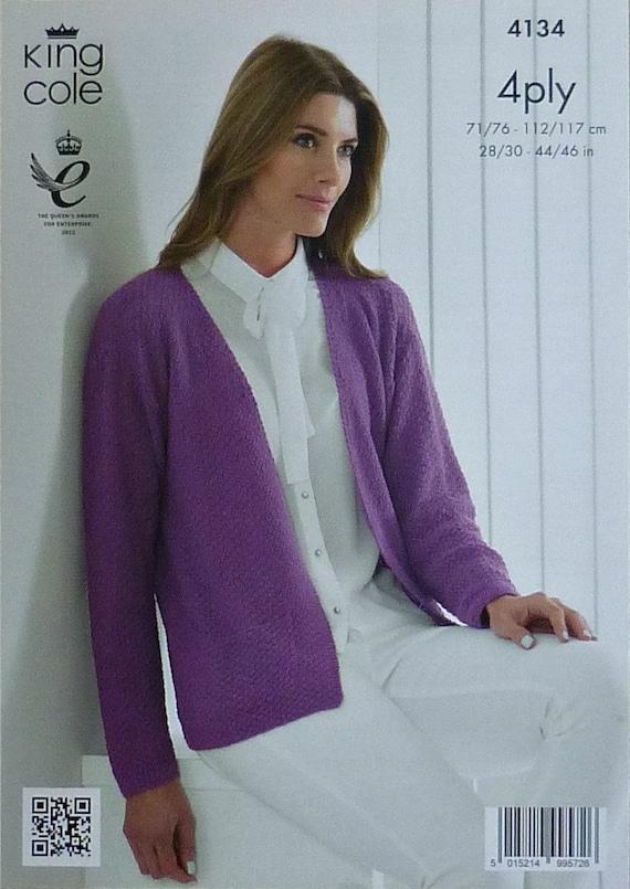 Knitting Pattern Moss Stitch Cardigan : Womens Knitting Pattern K4134 Ladies Long Sleeve V-Neck Moss
