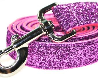 "Light Pink Metallic Glitter 1"" Width  Leash"