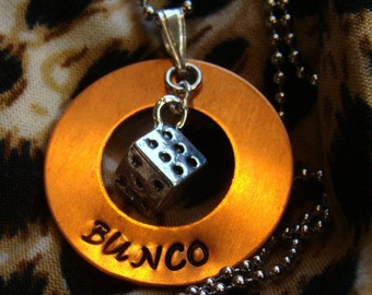 Hand Stamped copper BUNCO necklace.