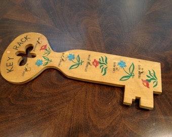 Wood key shaped holder with hooks for keys  funky floral painted design