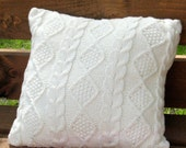Throw Pillow Decorative Cushion Covers Hand knitted design White