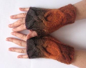 Fingerless Gloves Brown Orange Arm Warmers Knit Soft