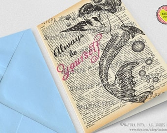 Always be yourself Mermaid quote Greeting Card-Mermaid card-4x6 card-Birthday card-Little mermaid card-Dictionary card- NATURA PICTA NPGC088