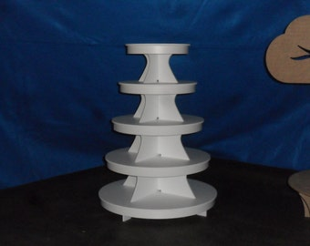 """5 Tier Round or Scallop Cake Stand / Cupcake Stand White PVC Plastic w/Apron plate size 9, 11, 13, 15, 17"""" Plates"""