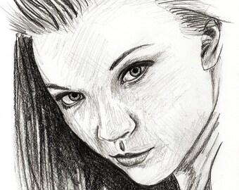 Natalie Dormer - original pencil sketch - size A5