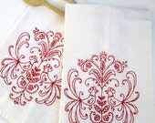 Beautiful Red Work Hand Embroidered Dish Towels--2-pack