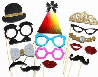 Best Wedding Photo Booth Prop - 15 Piece GLITTER Set - Mustache Photobooth GLITTER Party Props