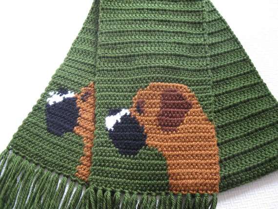Knitting Patterns For Boxer Dogs : Boxer dog scarf. Olive green crochet scarf with boxer by hooknsaw