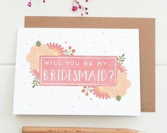 Will you be my Bridesmaid card - Bridesmaid proposal - Be my Bridesmaid - Bridesmaid gift - Wedding card - Wedding party
