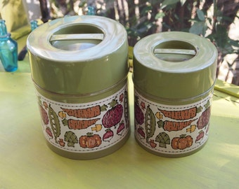 Kitchen Canisters, Metal Canisters, Kitchen Storage Cans, Vegetable Tins, Graduated Canisters, Storage Tin, Tin Canister, Nesting Tins, Prop