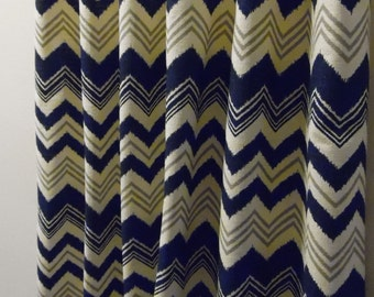 Gray and Navy Ikat Chevron  Rod Pocket  63 72 84 90 96 108 or 120 Long by 24 or 50 Wide