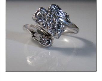 Antique Art Deco 14k Double Diamond Filigree Large Dinner Ring