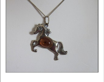 Vintage Sterling Amber Horse Equestrian Pendant and chain