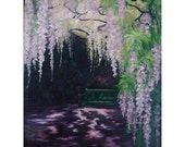 Original Oil Painting,Large floral,Wisteria Purple,Garden bench,Shirin Mackeson