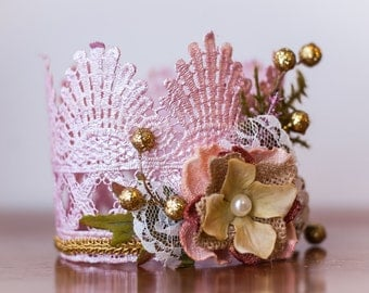 Lace Crown in Pink and Gold - Mini Crown - Baby Lace Crown - Shabby Chic - Alice in Wonderland