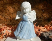 Vintage Angel With Harp In Blue Dress Made Of Porcelain By Lego Japan