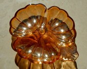 Vintage Candy Dish Irridescent Amber Glass Three Leaf Clover