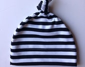 Baby knotted hat/beanie/slouch hat/black and white striped/infant/baby /toddler