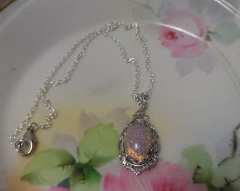 Victorian OPAL necklace wedding necklace silver FIRE OPAL necklace wedding jewelry pink fire opal harlequin gass bridal accessories