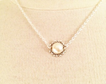Pearl necklace BRIDESMAID GIFT silver pearl necklace minimalist necklace silver plated necklace victorian necklace bridal necklace necklace