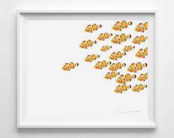 Watercolor Fish Print. Fish Wall Art. Nemo Fish. Clownfish. Nursery Arts.Aquarium Print, Baby Nursery, Modern, Tropical, Orange, Gold