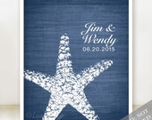 Starfish Connection - Custom Beach Wedding Print - Personalized Wedding Gift - Bridal Shower Gift - Engagement Gift - Print or Canvas