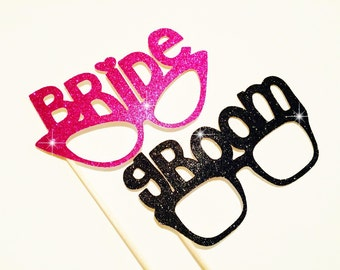 Photo Booth Props - Bride and Groom Glitter Glasses - Set of 2 - Weddings - Photobooth Props
