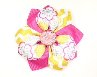 Hair Flower, Hot Pink and Yellow, Baby Girl, Flower Girl Gifts, Ribbon Flowers, Hair Accessories, Hair bows, Hairbow, Flowers, Hairbows