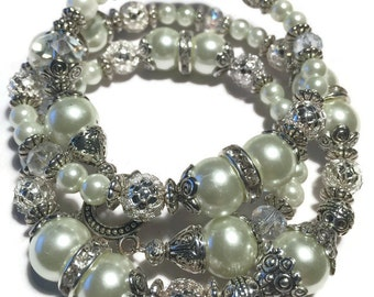 Bridal Crystals and Pearls Wedding Wrap Bracelet