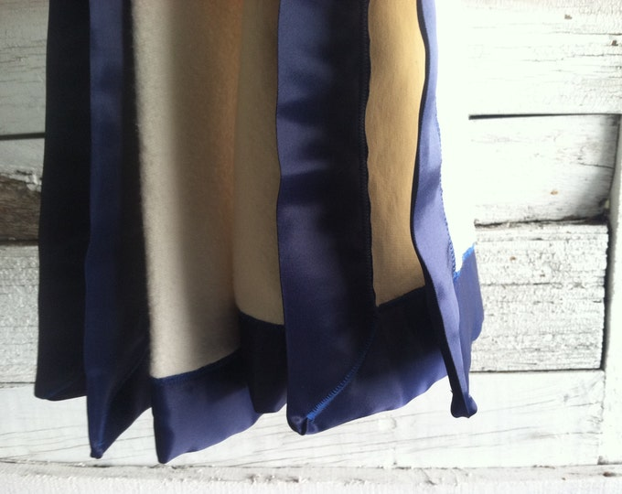 GOTS Organic Cotton Fleece Blanket with Navy Blue Satin Trim Baby Blanket - Made to Order