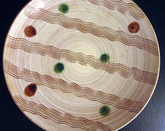 Vintage Mid Century Japanese Pottery Ceramic Plate Dots Squiggle Lines - Occupied Japan.
