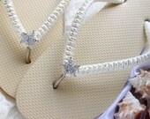 Bridal flip flops with starfish rhinestone button ivory wedding flip flops, beach wedding shoes, bridesmaids sandals, wedding slippers
