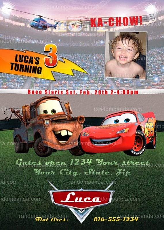 ON SALE Personalize Cars Invitation, CARS Party, Lightning McQueen Invite