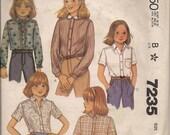1980 Sewing Pattern McCall's 7235 girls shirt size 8