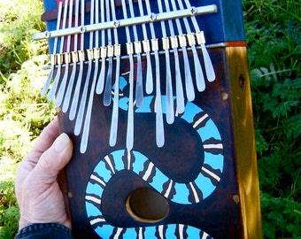 Large Box Kalimba Blue Snake