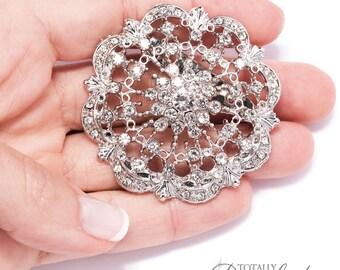 100pcs Glamorous Wedding Brooch Embellishments, Wedding Supplies Rhinestone Wholesale Bouquet of Broaches Crystal Broach, Brooch 412-S