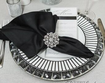 100pcs Wedding Napkin Rings, Rhinestone Napkin Rings Table Decor Wedding Bling, 407-S-N