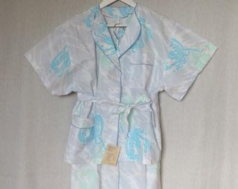 Vintage Pajamas Womens Pajama Set 80s Two Piece Pajamas Unused Sleepwear Loungewear Floral Pajamas Womens Lingerie Blue Green