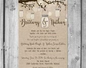 Lovely Tree Hanging Mason Jar Wedding Invitation Set