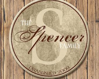 Personalized Wood Family Established Sign, Family Last Name Sign, Wood Name Sign with Established Date & Monogram, 4 Sizes