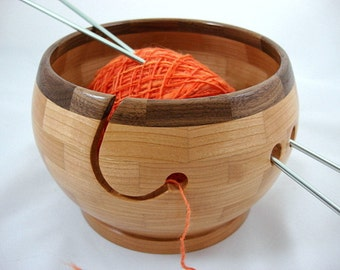 Wooden Cherry Knitting Bowl, Lathe Turned, Segmented, Walnut Rim, As Seen In Knit Wear and Interweave Knits Magazines