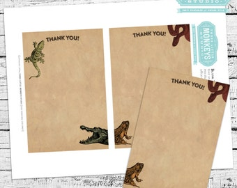 Reptiles & Amphibians Herpetology Thank You Notes - INSTANT DOWNLOAD