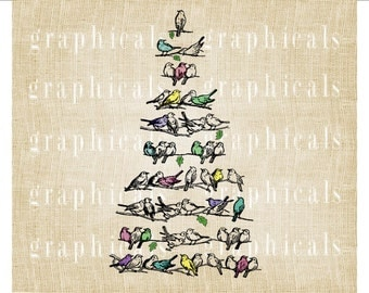 Branches bird tree pastel Instant Digital download graphic image for iron on fabric transfer burlap paper decoupage pillows cards No. 599