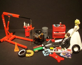 AUTO MECHANIC Tool Set w/ CHEVY 302 v8 Engine & Stand Wedding Cake Topper Funny Grooms Cake Bride and Groom