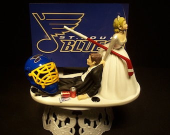 hockey sports team st louis blues bride and groom wedding cake topper funny grooms cake