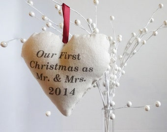 our first Christmas heart ornament, personalized Christmas ornament, custom ornament, couples first Christmas ornament, married ornament